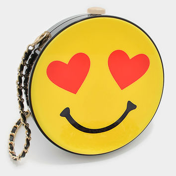 Smiley Face Heart Eyes Emoji Crossbody Bag, Box Purse with Chain