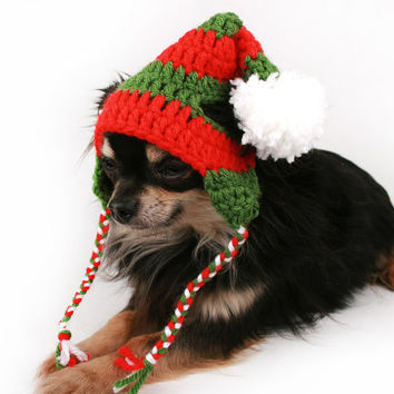 Dog Hat crochet Striped Christmas touque ear flap hat for dogs