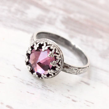 Sterling silver ring with Vintage Swarovski amethyst crystal on a floral diamond band, pink purple, February birthstone, promise ring