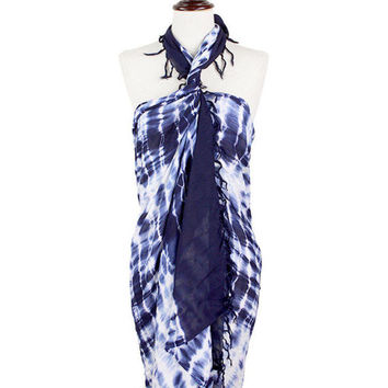 Navy Blue & White Tie dye long scarf / pareo / sarong / wrap / cover up