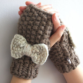 Fingerless mittens taupe, bow mittens