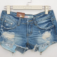 shop — 062005  frayed denim shorts