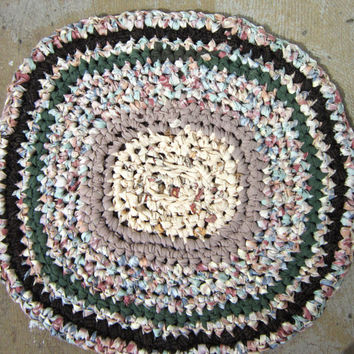 Handmade Crochet Rag Rug Crocheted from Repurposed Fabric, Primitive Area Rug, OOAK Throw Rug from Upcycled Material, Accent Rug