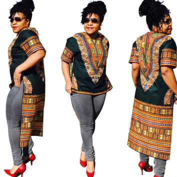 African Vintage Dashiki High-Low Green Shirt