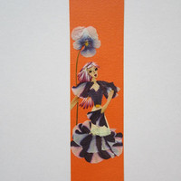 "Handmade unique bookmark ""Live at your own pace"" - Pressed flowers bookmark - Unique gift - Paper bookmark - Original art collage."