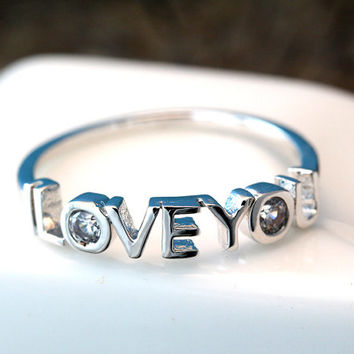 I Love You Letter Ring Infinite Love Best Friend Sister Ring Jewelry Gold Silver Gift Idea