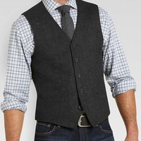 Pronto Blue Vest, Charcoal Herringbone
