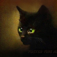 black cat art print - EENSY WEENSY - black kitten art