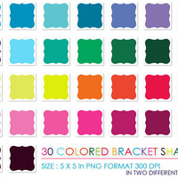 Colored Bracket Shapes - PNG Instant Download - Commercial Use - Scrapbook Kit - Embellishments - High Quality 300 dpi