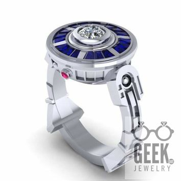 The Original R2 Droid LTE- 14K White Gold Ring, Sapphire and Ruby Engagement Ring