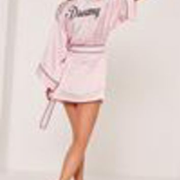 Missguided - Pink Dreamy Striped Silk Robe