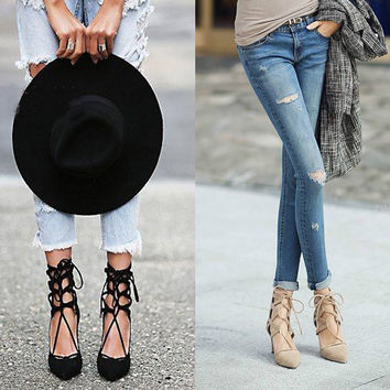 High Heel Hollow Out Pointed Toe Shoes = 4814724420