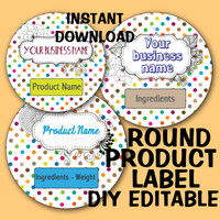 "DIY Polka Dot ROUND ""Editable"" LABEL Instant Download -Soap labels -Lotion Labels -Body Butter Labels - Product Labels Editable-Scrapbooking"