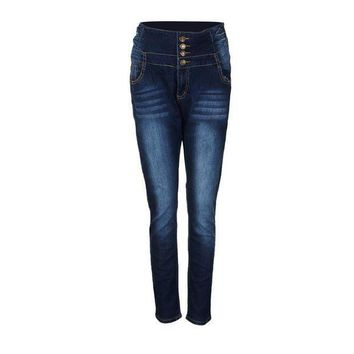 PEAP78W HOT SALE Women Pencil Pants High Waisted Elasticity Jeans Solid Blue Skinny Jeggings Skinny Laies Pants Slim Fit