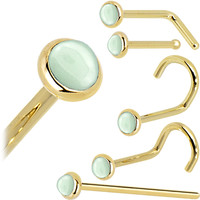 Solid 14KT Yellow Gold 2mm Aventurine Quartz Nose Ring
