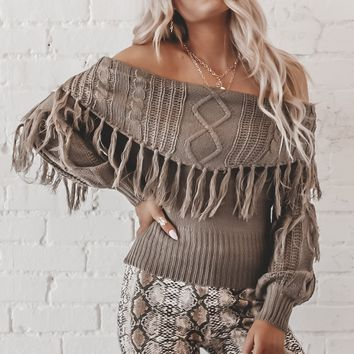 Dance With Me Olive Off The Shoulder Fringe Sweater
