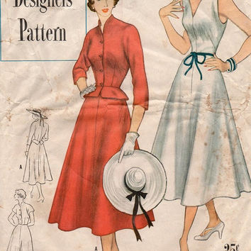 Simplicity 8238 Sewing Pattern 40s 50s Party Dress Peplum Jacket Fit Flare Skirt Pointed Shoulder Detail Tea Dress Bust 32
