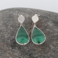 Sterling silver and stripy green malachite earrings