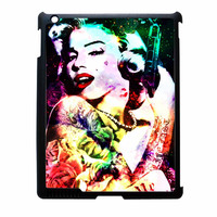 Marilyn Monroe Tattooed Flower With Pistol Gun Collage iPad 2 Case