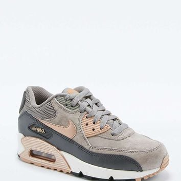 Nike Air Max 90 Premium Grey and Bronze Leather Trainers - Urban Outfitters 80637e9d6