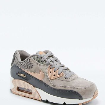 Nike Air Max 90 Premium Grey and Bronze Leather Trainers - Urban Outfitters 5f53abb18