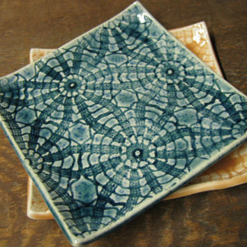 Lace dish in peacock blue by jjceramics on Etsy