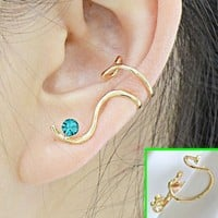 Blue Rhinestone Curved Ear Cuff (Single, No Piercing)