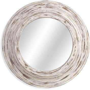 "Bassett Mirror Mallory Wall Mirror Antique White Wash 36"" x 36"" - M3745EC"