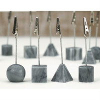 Set of 12 Assorted Grey Marble Recipe/Photo Clips
