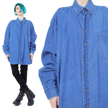 1990s Denim Shirt Medium Wash Denim Shirt Basic Vintage Mens Denim Shirt Unisex Blue Jean Shirt Button Down Denim Shirt Long Sleeves (XL)