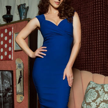 Pinup Couture Erin Wiggle Dress in Royal Blue