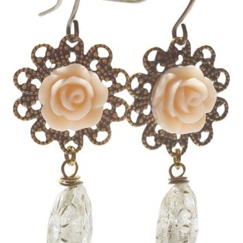 Blush Pink Flower Dangle Earrings. Jewelry