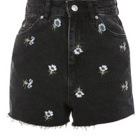 Floral Embroidered Mom Shorts - Shorts - Clothing