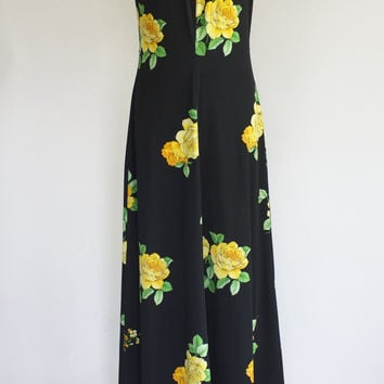 60s Polyester Maxi Dress / 60s Hostess Dress / 60s Dress and Jacket Set