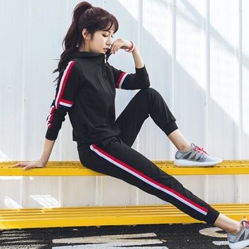 Autumn Women's Athletic 2 Pcs Zip Hoodie Jacket & Pants Tracksuit Set Red Side Stripe (S-XL) Yoga Suit Black Grey Free Shipping
