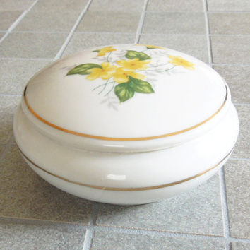 White porcelain trinket box powder jar yellow flowers - Wedding favors bridal shower favors - Yellow floral trinket jewelry box
