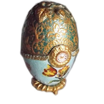 """Tulips - Decoupage Papier Mache Christmas Eastern Faberge Egg Victorian Style 5,1""""-3,74"""" (13-9,5cm) golden green decor ornament gift for her"""
