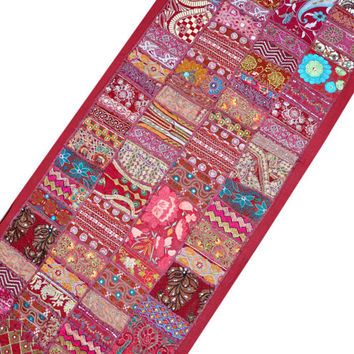"60x20"" Indian Vintage Patchwork Tapestry Wall Hanging Ethnic gypsy bohemian tribal Decorative Art Wall decor Home decor table runner"