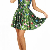 Fashion Christmas Tree Digital Print Sleeveless Reversible A-line Short Dress