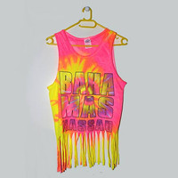 Tie Dye Fringe Tank Top Crop Top Nassau Bahamas Festival Beach Clothing Small S