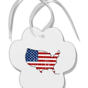 United States Cutout - American Flag Distressed Paw Print Shaped Ornament by TooLoud