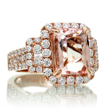 18K Rose Gold Diamond Halo 11x9 mm Cushion Cut Morganite Three Stone Multi Row Engagement Anniversary Gemstone Ring