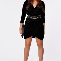 Missguided - Plus Size Wrap Dress Black