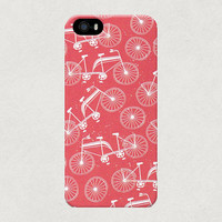 Red and White Bikes Cycling Pattern iPhone 4 4s 5 5s 5c Case