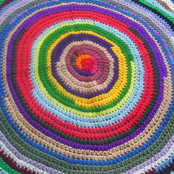 Hand Crocheted Round Patchwork Afghan