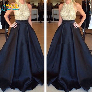 2016 Halter Neck Prom Dresses Gold and Black Puffy Long Formal Special Occasion Evening Dress Ball Gown Prom Gown Custom Made