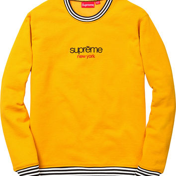 Supreme Classic Logo Striped Rib Crewneck