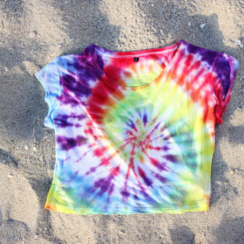 Tie Dye Crop Top 70s  Rainbow Hippy Tumblr Hipster 90s Brandy Melville
