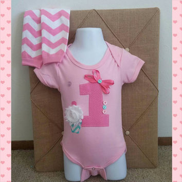Pink Birthday Girl Cupcake Number Onesuit - Hot Pink - Personalized - Bow - Cake Smash Outfit - Leg warmers