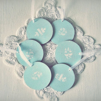FREE SHIPPING - Tiffanys Blue Wedding Decor - Wooden Shabby Chic Double Sided Table Numbers - Pastel Blue - Distressed Antique Vintage